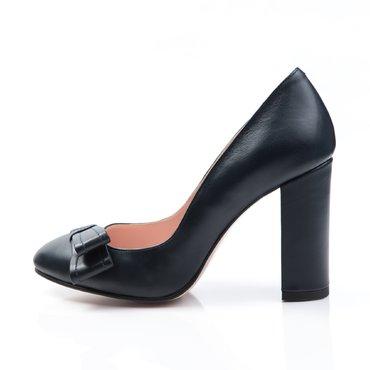 Pantofi de dama piele bleumarin Joli cu funda GF1