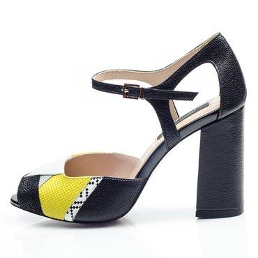 Pantofi de dama piele neagra cu galben Instagram