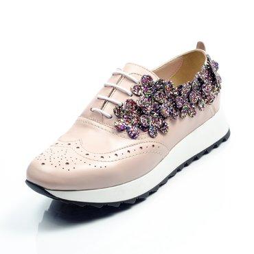 Pantofi de dama piele roz cu flori glitter Young Sport