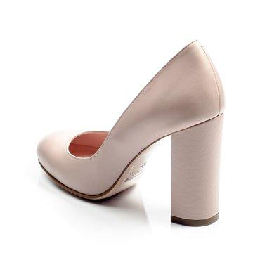 Pantofi de dama piele roz Joli cu toc gros