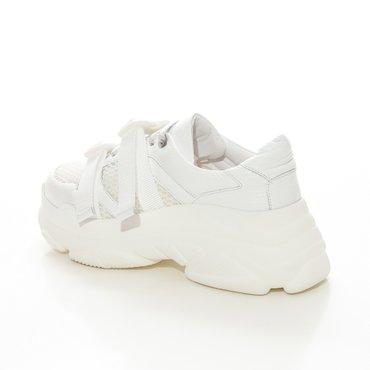 Pantofi de dama sport casual din piele naturala alba Mondo