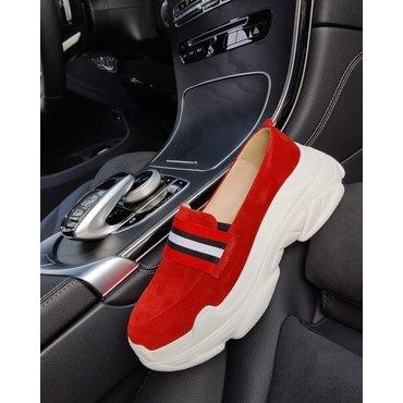 Pantofi de dama sport casual tip sneakers din piele naturala rosie Kendal