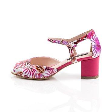 Pantofi de dama tip sanda piele naturala imprimeu flori fuxia Mini