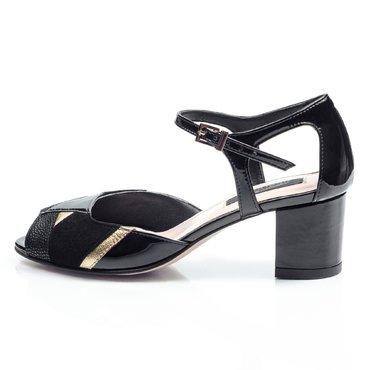 Pantofi decupati de dama lac negru cu auriu Lui