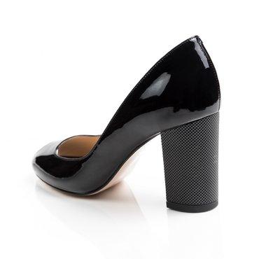 Pantofi decupati din piele naturala lac negru Ina 2