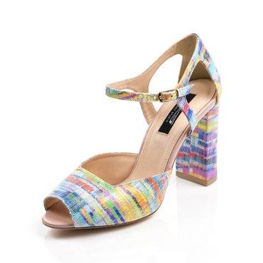 Pantofi decupati tip sanda din piele naturala imprimeu color Ira