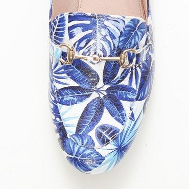 Pantofi din piele naturala imprimeu floral bleo Felicia