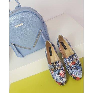 Pantofi din piele naturala imprimeu floral Felicia