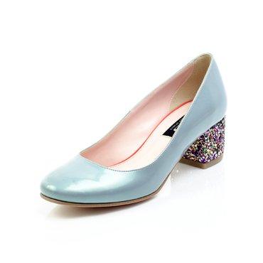 Pantofi Elisabeta lac bleu perla cu glitter