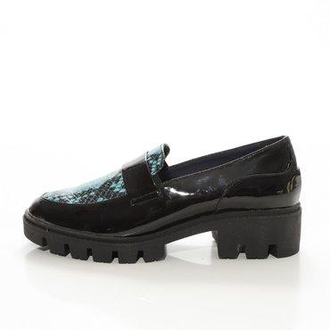 Pantofi negrii cu imprimeu turcoaz din piele naturala Lera