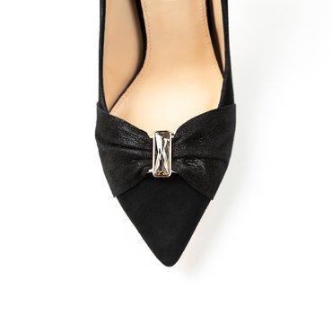Pantofi negrii din piele intoarsa Kalipso