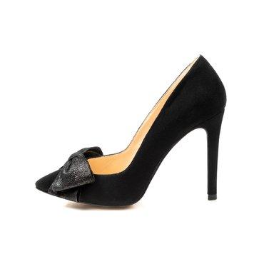 Pantofi negrii din piele intoarsa Trend Lady cu funda