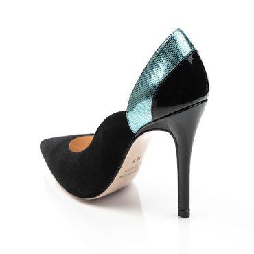 Pantofi negru cu bleu din piele naturala Heaven