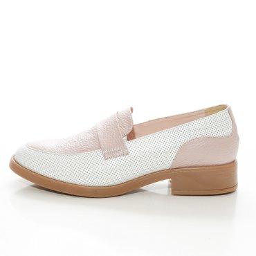 Pantofi oxford alb cu roz din piele naturala Lera