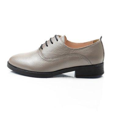 Pantofi oxford grej din piele naturala Young Office
