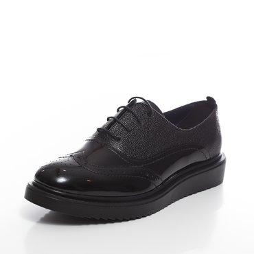 Pantofi oxford negrii din piele lacuita cu presaj Young
