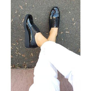 Pantofi oxford piele lacuita duo black Young