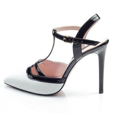 Pantofi piele alba cu lac negru Selena