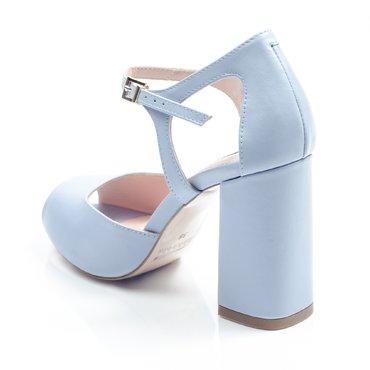 Pantofi piele bleu Iris cu toc evazat