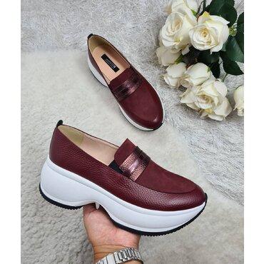 Pantofi sport din piele naturala bordo Liv