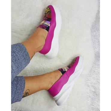Pantofi sport din piele naturala fuxia Snake 6008