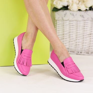 Pantofi sport piele fuxia Klara cu franjuri