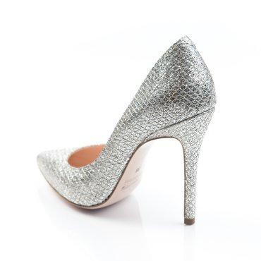 Pantofi stiletto de ocazie glitter argintiu Eva
