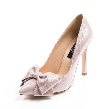 Pantofi stiletto roz sidefat din piele naturala Trend Lady cu funda