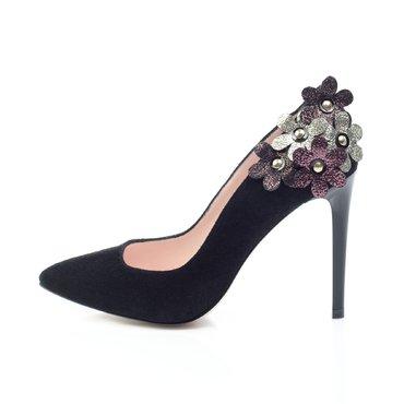 Pantofi stiletto trend camoscio negru Maya