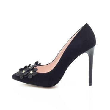 Pantofi stiletto trend camoscio negru Spring