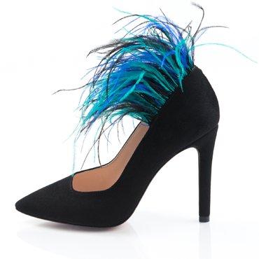 Pantofi stiletto trend camosio negru Imperial