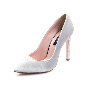 Pantofi stiletto trend catifea gri deschis