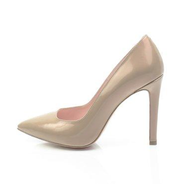 Pantofi stiletto trend lac bej perla