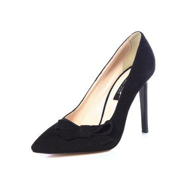 Pantofi stiletto trend piele intoarsa neagra cu funda GF2