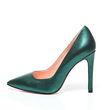 Pantofi stiletto trend piele verde smarald