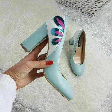 Pantofi turcoaz din piele naturala Kolibri