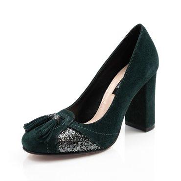 Pantofi verzi din piele intoarsa cu glitter si ciucuri B6