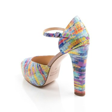 Sandale dama cu platou din piele naturala imprimeu color  Elle