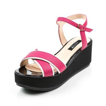 Sandale de dama din piele naturala fuxia Twix Soft