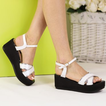 Sandale de dama piele alba Twix Soft