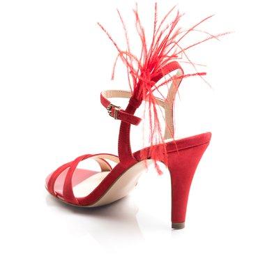 Sandale elegante de dama camoscio rosu Mila