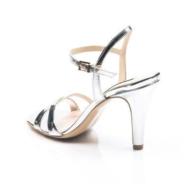 Sandale elegante de dama laminat argintiu Mila