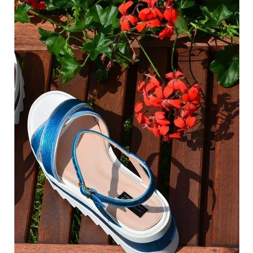 Sandale piele bleu electric Relly