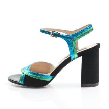 Sandale piele camoscio negru cu verde si albastru sidef Frida