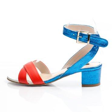 Sandale piele corai cu albastru lucios Sacha