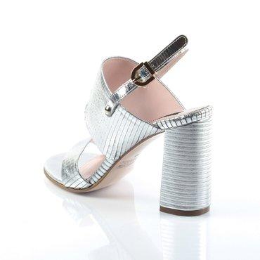 Sandale piele presaj argintiu Loca