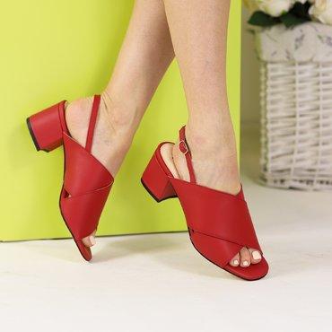 Sandale piele rosu mat Rebeca