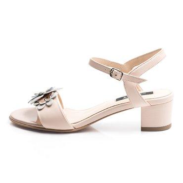 Sandale piele roz Mado cu floricele