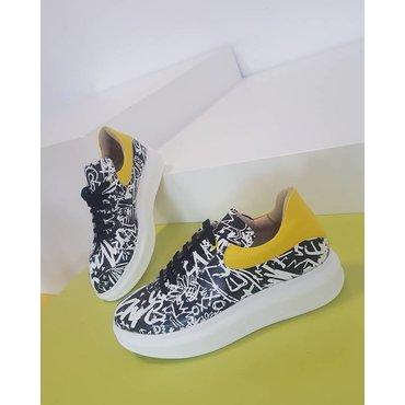 Sneakers din piele naturala imprimeu alb cu negru Poly