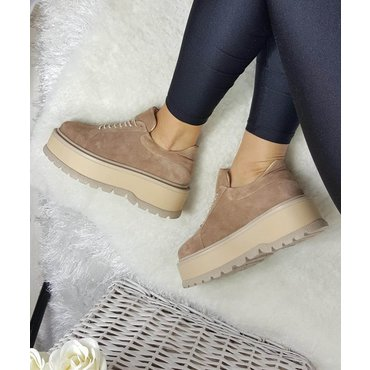 Sneakers platforma din piele naturala bej Levi 6011